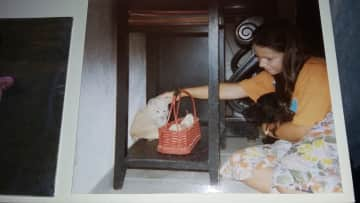 This is me, about ten years later, with our dog Lady (yes, I was eight and I got to choose the name) getting to know our new kitty Bonny. Lady died of cancer when she was 11 years old. Bonny became 14 years old.