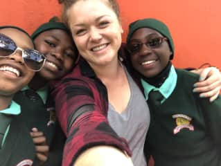 Three of our sponsored girls at School with Nancy