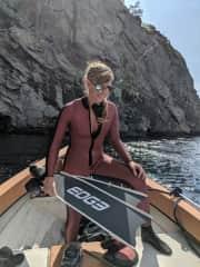 Carrigan preparing for a freedive