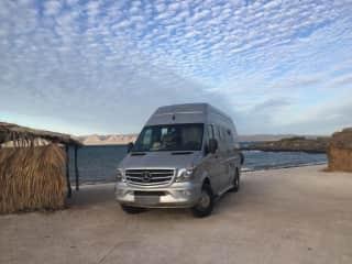 Sprinter van we travel in - parked in Baja