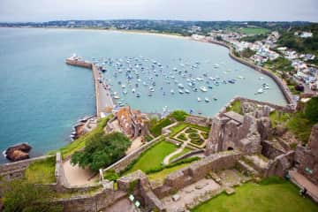 View from Gorey castle over the village