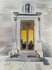 I do watercolors. This is a church in Sicily