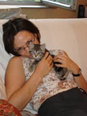 Me and Tijgertje. Schattebout and Tijgertje got adopted by my friend and catsitter, they are enjoying a happy life at the countryside.