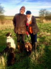 The whole fam, out for walkies  at the farm