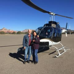 Roger and Linda, first helicopter ride in Sedona, Arizona