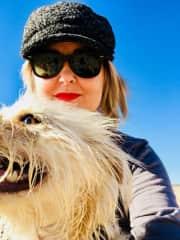 Arlo and I at the dog beach, July 2018.
