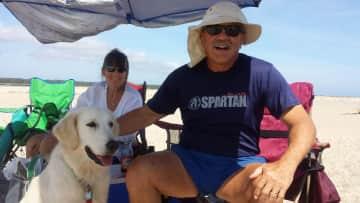 DJ & Grady with Milo at Nauset Beach