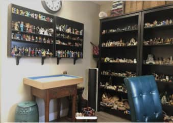 This is my art and psychotherapy office on Point Dume. This photo includes my Jungian sand tray miniature figurine collection. I have collected figurines from around the world.