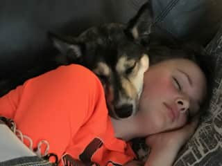My grandson Finn and his dog Okie