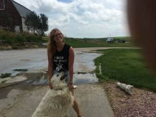 Keeping up with Lily, the Great Pyrenees, and all of her energy while visiting family in Nebraska.