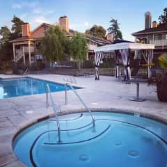 The hot tub and pool near the main club house (unfortunately closed due to COVID)