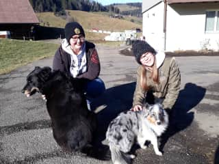 Caroline Maurice with her favorite dog Zero and Selina with Maylin