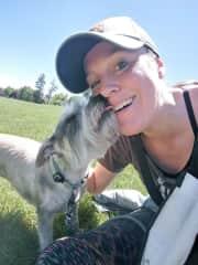 Getting kisses from Winnie!
