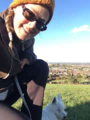 Taking a breath during a hike up the hill with 6 month young Westie