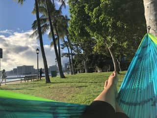 Enjoying the Waikiki sunset from my hammock.