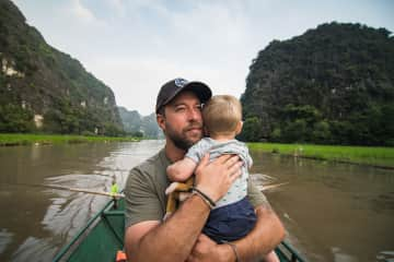 Enjoying the most beautiful boat ride we've ever been on in Vietnam!