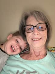 Being silly with my grandson
