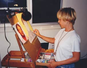 Jay sketching with pastels