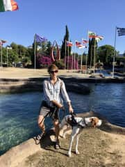 Walking with Benny, a rescue dog from animal shelter in Spain