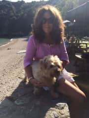 This is me with Boris . A well travelled dog . Lovely to get to know his temperament. Out walking the cliffs .
