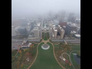 View from the top of the Gateway Arch on a foggy day