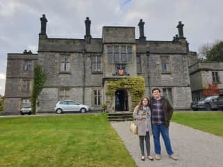 In front of Tissington Hall, built by Tom's ancestors in 1609 - where we will be getting married in October!