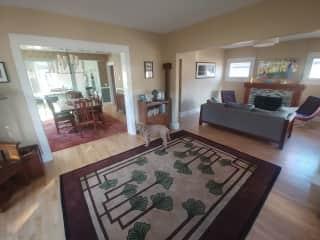 Entry, living room, dining room