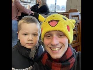 My cousin let me wear his pikachu hat!