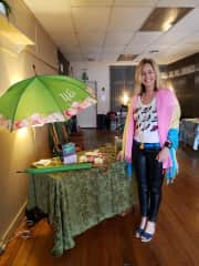 Me promoting my Umbrella and Book Set in my local community.  2019.