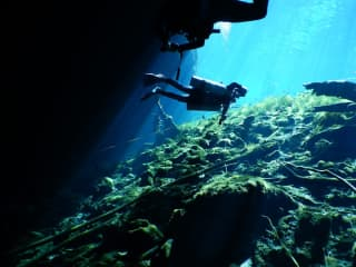 me diving in a cave in Mexico
