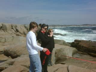 Carol and our kids a few years ago (Nikki is at the end of the leash.)