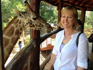 just me and a giraffe hanging out in Kenya.