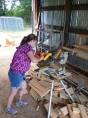 Working on the barn construction this summer.