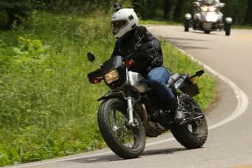 Megan on her motorcycle