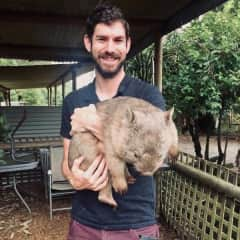 Jack and Marnie the wombat, from a sanctuary on the Victorian coast