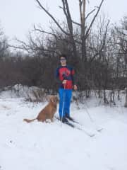 Jake and Oakley cross country skiing, ON