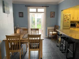 Dining room (open plan) onto Kitchen