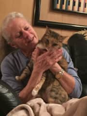 This is my favorite California kitty, Nyima, with me at her house.