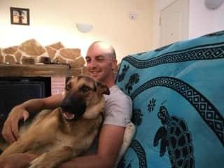 Cuddles with Rebel (my dog)