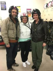 My husband Joe, daughter Christy and I visiting her squadron.