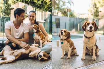 Larry and Lisa with Benson and Bella