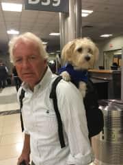 My husband, Bob, and Jax at the Atlanta airport. September 1, 2017
