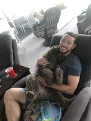 Myself and our family labradoodle, Mocha!