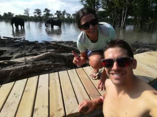Pame and Ignacio at the most amazing place full of elephants in their natural environment at the  Okavango Delta