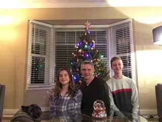 Robert and the children with Loki, Christmas 2018.
