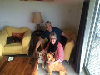 Penny and Brian with these two beautiful Australians Maggie & Whisky - just loved this housesitting job!