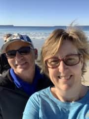 Mark & Edwina Muir walking dog Kyla' at the beach