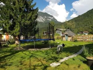fenced garden with trampoline