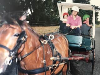 Doc my driving pony with my twin daughters.