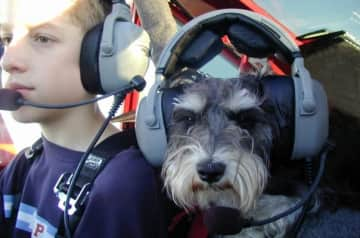 My younger brother John with our wonderful miniature schnauzer Phantom, who was our childhood best friend. Don't worry - Phantom was not the pilot!